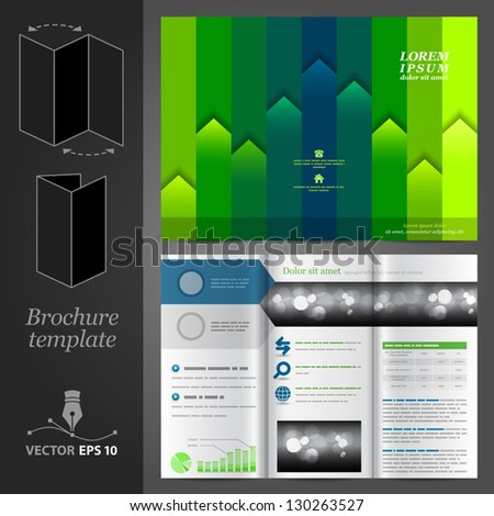 Vector green brochure template design with color stripes. EPS 10 - stock vector