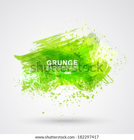 Vector green brush strokes and ink. Abstract vector design element. - stock vector