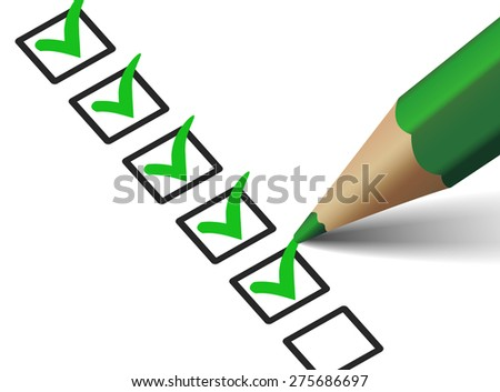 Vector green check mark symbol and icon on checklist with pen for business design concept and web graphic, EPS 10 illustration on white background. - stock vector