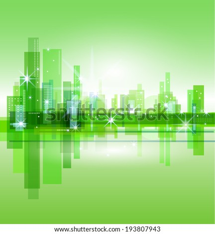 vector green city and the sea  - stock vector