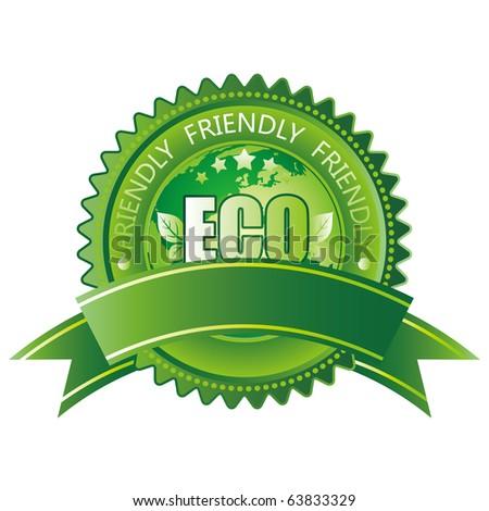 vector green eco-friendly icon - stock vector