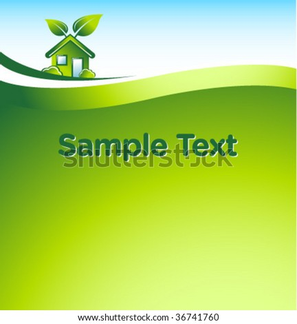 vector GREEN eco house with place for your text 2 - stock vector