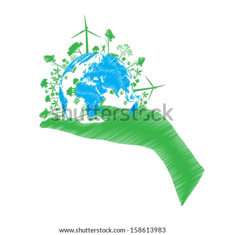 vector green eco world isolated on white - stock vector