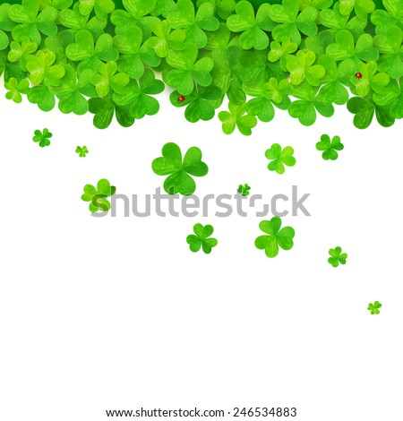 Vector green falling clovers isolated on white background - stock vector