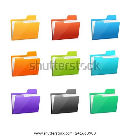 Vector Green file folder icon set isolated on blue background - stock vector
