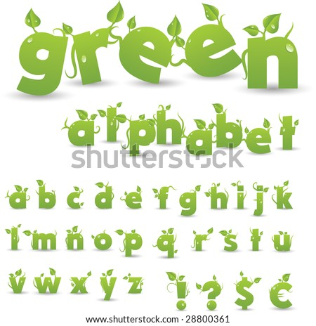 vector green floral alphabet - stock vector