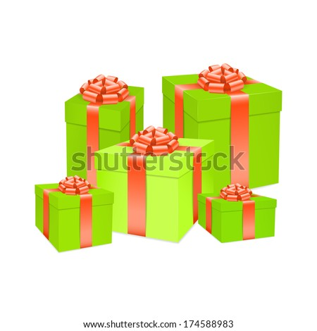 Vector green gift box with red bow ribbon. - stock vector