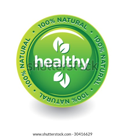 Vector Green Healthy Label - stock vector