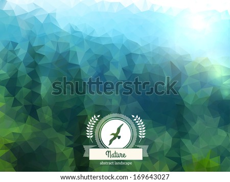 Vector green landscape with round badge. Mountain view. Forest. Retro label design with seagull and ribbon. - stock vector