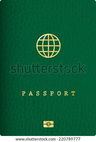 vector green leather biometric passport - stock vector