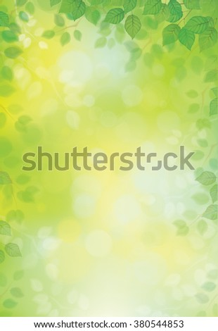Vector green leaves border on green bokeh background. - stock vector