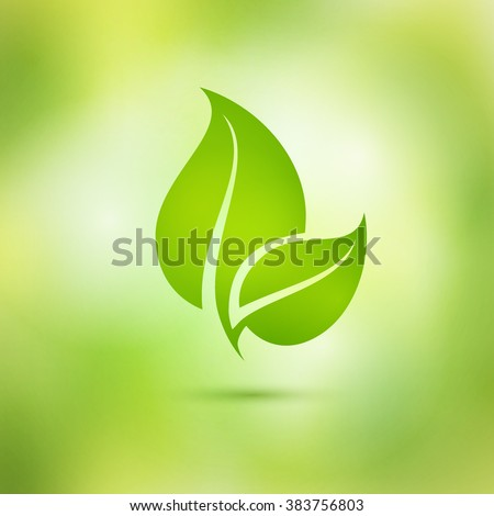 Vector green leaves on a green background. - stock vector
