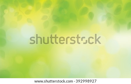 Vector green leaves on sunshine background. - stock vector