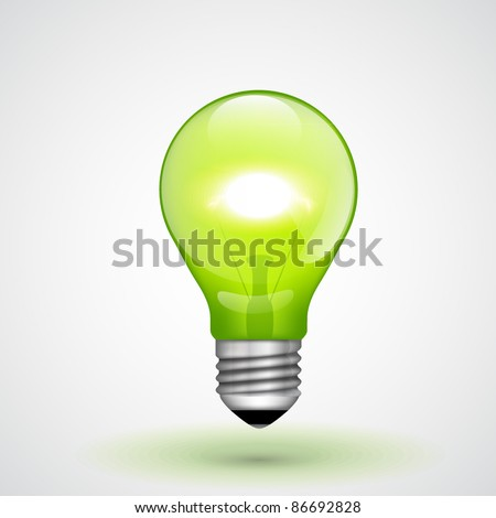 Vector Green Light Bulb - stock vector