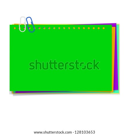 vector green paper notes with  paperclip - stock vector