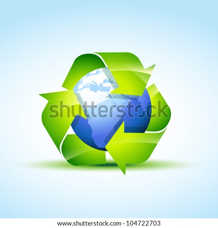 vector green recycle icon covering earth - stock vector