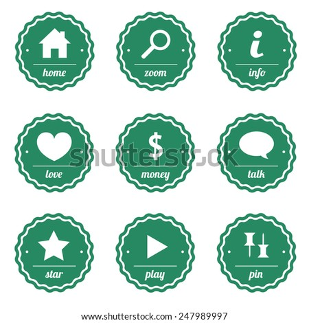 Vector green stamps and labels for design - stock vector