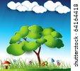 vector green tree landscape art - stock vector