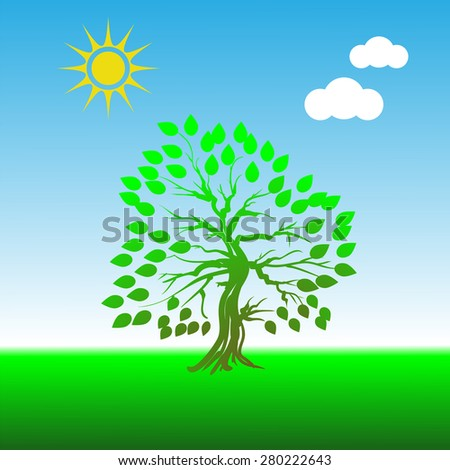 Vector Green Tree on Blue Sky Background for Your Design - stock vector