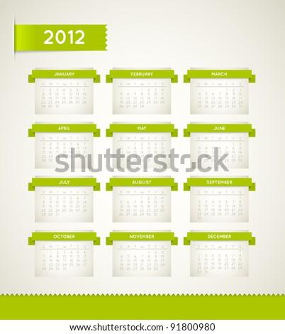 Vector Green Vintage retro calendar for the new year 2012 - stock vector