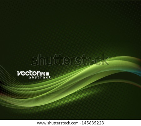 Vector Green Wave Abstract - stock vector