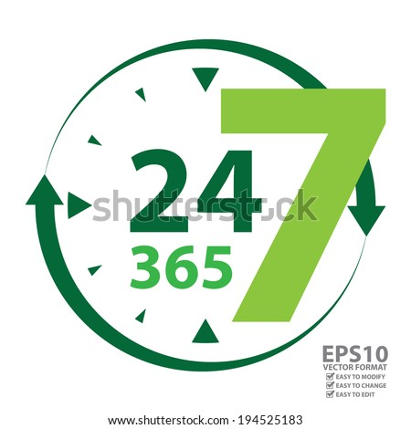 Vector : Green 24 7 365 With Clock and Arrow Sign Icon or Label Isolated on White Background - stock vector