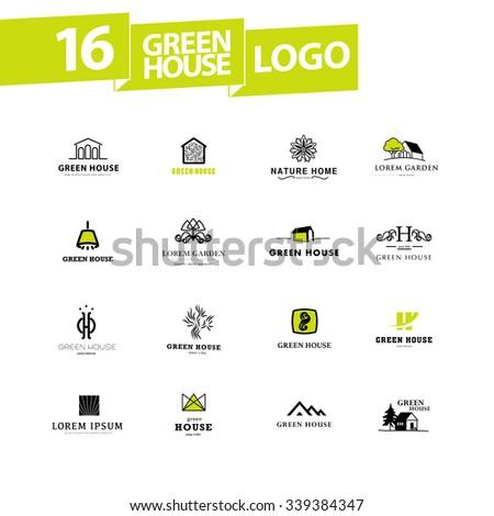 Vector greenhouse logo templates. Hothouse insignia collection. - stock vector
