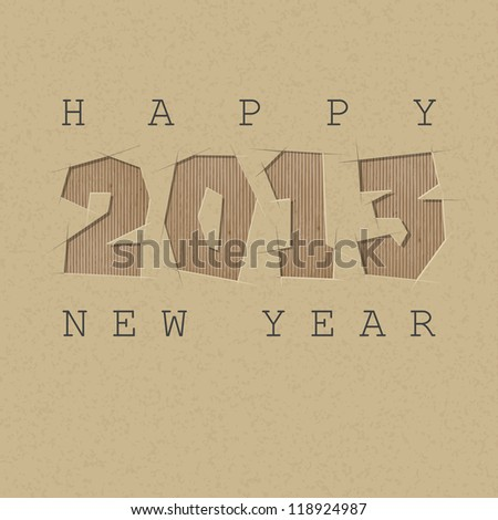 Vector greeting car. 2013 cut out on a cardboard. - stock vector