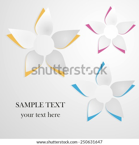 Vector greeting card background with paper flowers - stock vector