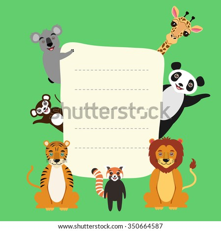 Vector greeting card, book cover, poster, banner.Cartoon animal characters. Lion, tiger, red panda, great panda, koala, giraffe, monkey. Kids illustration. Vector 10eps illustration. - stock vector