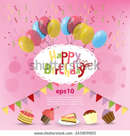vector Greeting card Happy Birthday - stock vector