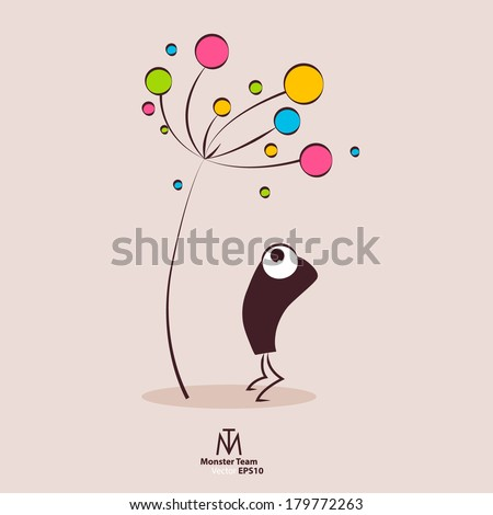 Vector greeting card. Monster with colorful flower. - stock vector
