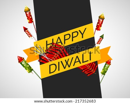 Vector greeting card or background, flyer,brochure, magazine cover for Diwali festival with crackers .can be used for print and publishing. - stock vector