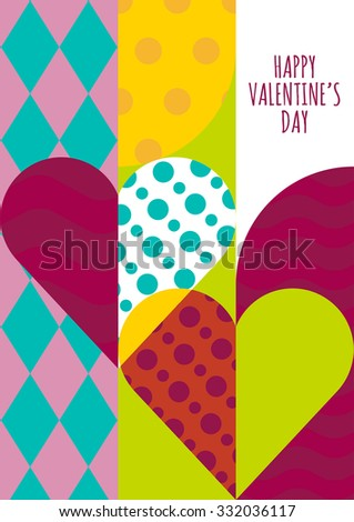 Vector greeting card template. Hearts with geometric pattern, abstract romantic background. Trendy concept for wedding, Valentines day, party invitation, save the date. Flyer, banner, poster design. - stock vector