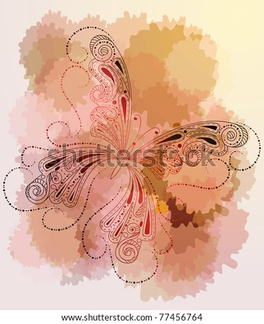 vector greeting card with butterfly, abstract spots,  and place for your text, eps10 - stock vector