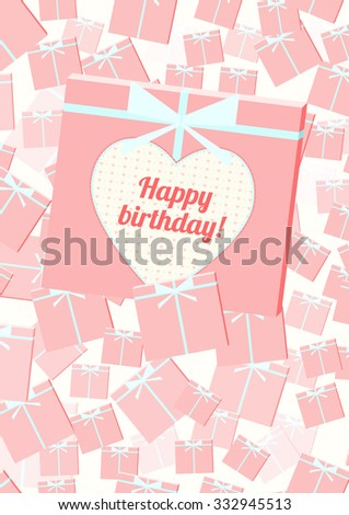 Vector greeting card with cute hearts and gifts - stock vector