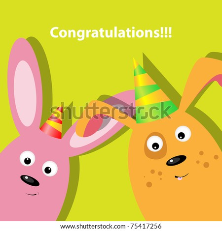 Vector greeting card with dog and rabbit - stock vector