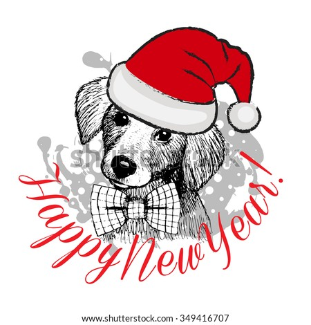 Vector greeting card with dog. Dog Santa in red hat with bow. Happy New Year. - stock vector