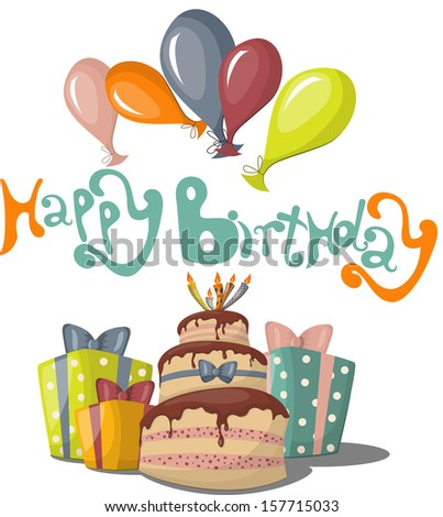 Vector greeting card with Happy Birthday text - stock vector