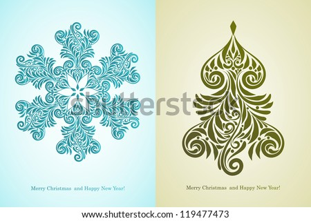"""vector greeting card with """"Merry Christmas and Happy New Year!"""" greetings, fully editable eps 8 file with AI standard font """"century""""  - stock vector"""