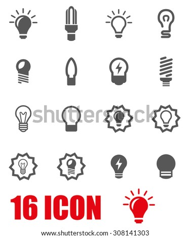 Vector grey bulbs icon set on white background - stock vector