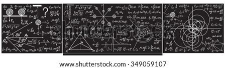 Vector grey chalkboard with handwritten with chalk formulas, equations, figures - stock vector