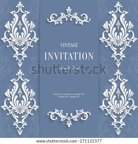 Vector Grey Christmas Vintage Invitation Card with 3d Floral Pattern - stock vector