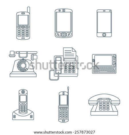 vector grey color outline various telephones gadgets devices icons set  - stock vector