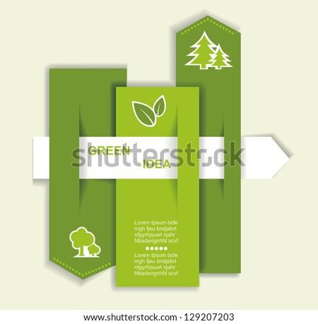 Vector Grey-green website with arrow. Ecology concept - stock vector