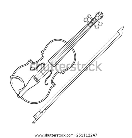 vector grey outline vector violin fiddle bow on white background technical illustration - stock vector