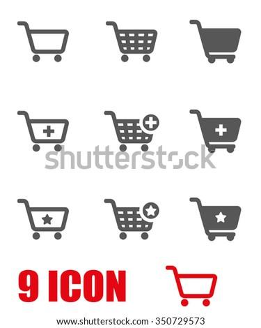 Vector grey shopping cart icon set. Shopping Cart Icon Object, Shopping Cart Icon Picture, Shopping Cart Icon Image - stock vector - stock vector