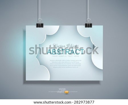 Vector grey template for design hanging on the wall ( horizontal version)  - stock vector