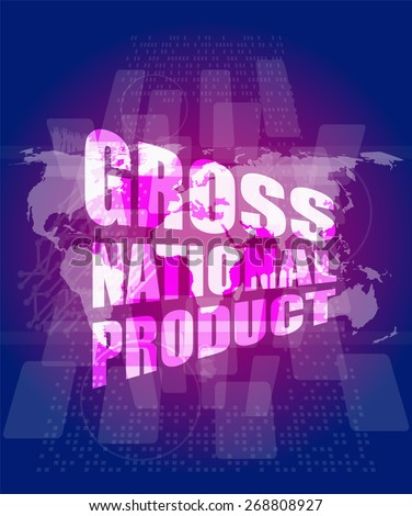 vector gross national product  word on digital touch screen - stock vector