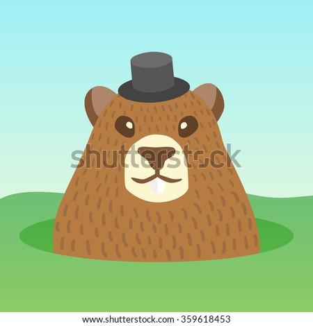 Vector ground hog day holidays. Ground hog character cartoon. Ground hog funny cute design card. Ground hog template invitations. - stock vector